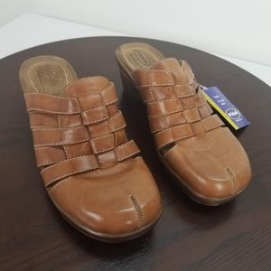 Dr Scholls Brown Leather Mules Slip On 9.5